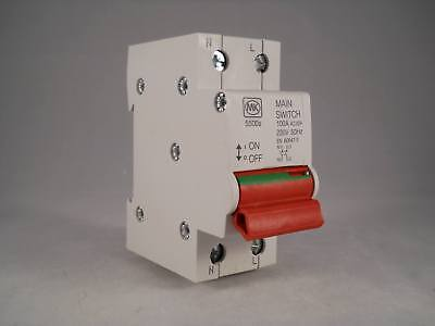 MK 100 Amp Main Switch Disconnector 100A Double Pole Isolator Sentry 5500S