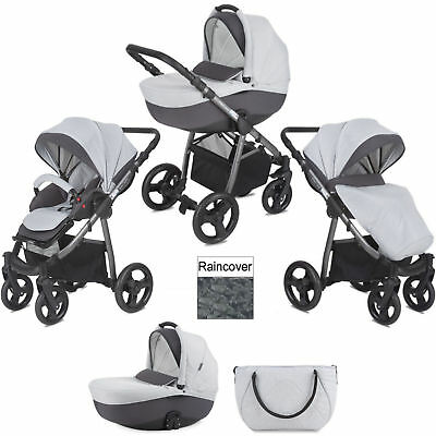 Mini Uno Grey Melange Stride 3 In 1 Pram / Pushchair With Raincover & Bag
