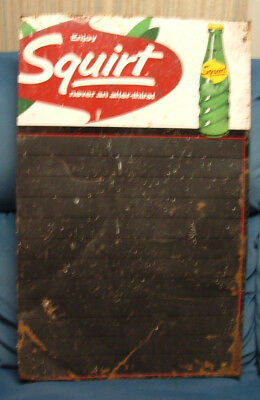 "Vintage 1966 Squirt Beverage Tin Sign 17.25""W X 27.5"" L #M 93 BR"