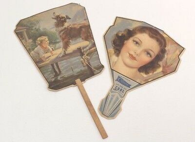2 Antique Cardboard Advertising Hand Fans Made in USA with Artwork