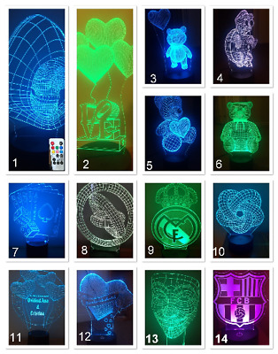 23 DESIGN 3D LED Lamp & Remote control ,7 Colors changing Can be personalised