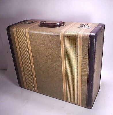 Vintage 1930s-1940s Striped Suitcase Luggage Grip #2 With Key #2