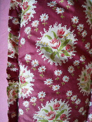 Vintage Feather Double Eiderdown Floral Circlets Ditsy Daisies Burgundy Ace Cond