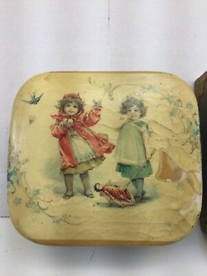 Lot of 2 Antique Victorian Trinket Dresser Boxes