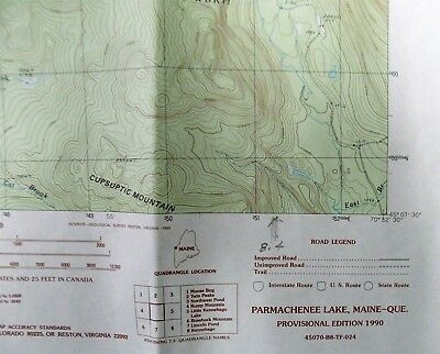Map Dept Interior Geological Survey USGS 1990 PARMACHENEE LAKE Maine Quadrangle