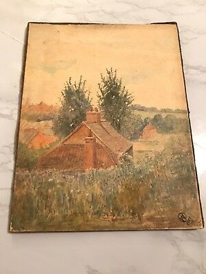 Vintage Watercolor Of House And Trees Signed W. 1921