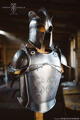 Medieval Full Body Dragon Armor Suit Larp Costume LOTR Breastplate/Cuiress W Hel