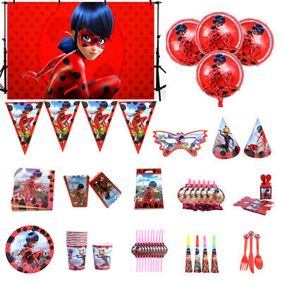 Miraculous Ladybug Birthday Party Tableware Decor Balloon Plates Cup Banner  Hat