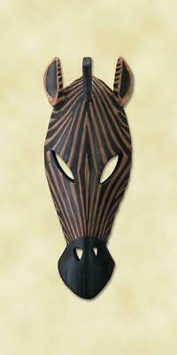 New Carved Wood African Tribal Zebra Animal Mask Wall Plaque Decor Gift