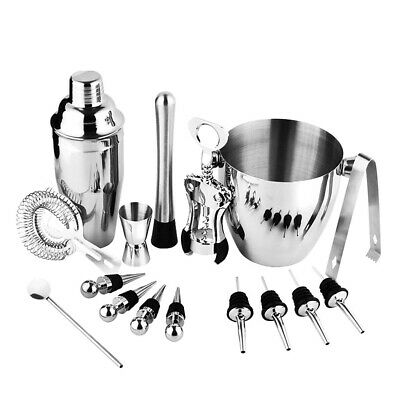 16Pcs Stainless Steel Cocktail Shaker Mixer Drink Bartender Bar Tool Kit Set