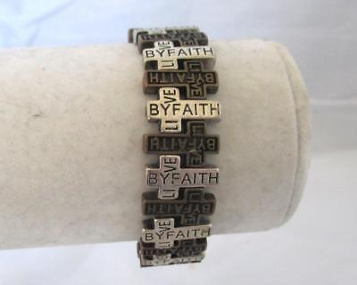"Stretch Cuff Bracelet Live By Faith Message Silver & Bronze Crosses 7"" flat"