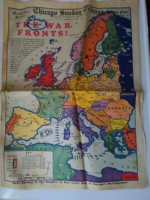 September 17, 1939 Chicago Daily Tribune WW II The War Fronts Map