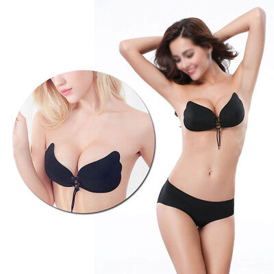911702b691 Strapless Backless BRA CLEAVAGE WEDDING LACE UP PUSH-UP INSTANT LIFT BRAS B  cup