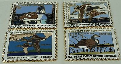 4 Ducks Unlimited Migratory Bird Hunting Non Ferrous Metal Stamp Lot