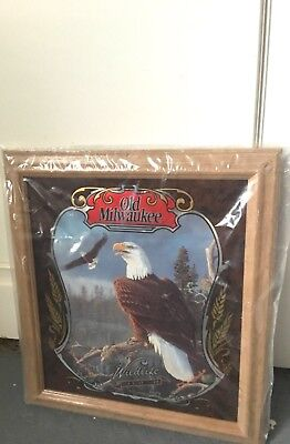 NOS Old Milwaukee Beer Mirror Wildlife Series 2 Bald Eagle USA Sign Bar Man Cave