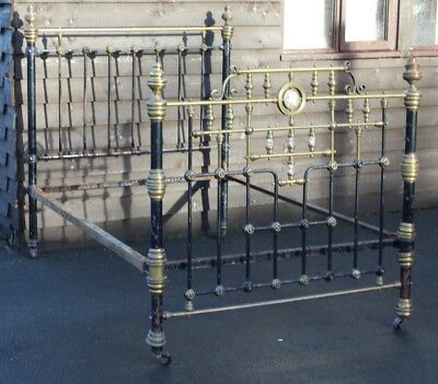 1900's Quality Double Brass and Iron Bed Frame with Mother of Pearl.. CHECK SIZE