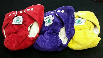 Lot of 3‼ LITTLE SMUDGEEZ Cloth Diapers Unisex Snap Closure Baby Medium • EUC‼