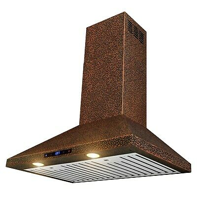 "30"" Wall Mount Range Hood Embossed Copper 4 Speed Touch Control Fan for Kitchen"