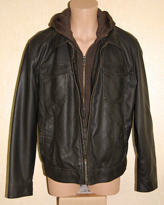 JOHN BARTLETT Mens Faux Leather Polyurethane Brown Hooded Jacket L NWT >>> €150