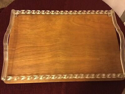 Sturdy Vintage Art Deco Wood and Lucite Tray 1940s - 1950s 17 in x 12 in