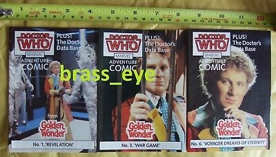 Dr Doctor Who Golden Wonder Mini Comics x 3 Colin Baker 1980s RARE OOP