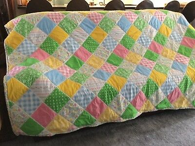 """Queen Size Pastel Patchwork Quilt Never Used Made With Percale Sheets 78"""" X 99"""""""