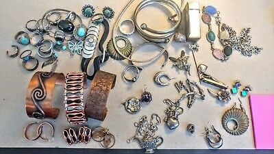 Lot of  jewelry for crafts, some wearable  copper, sterling, vintage, earring