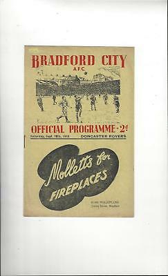 Bradford City v Doncaster Rovers Football Programme 1948/49