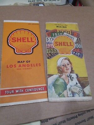 2 Shell Road Maps -- Maine & Maritime Provinces and Los Angeles and Vicinity