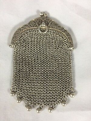 RARE Antique French Victorian Silver Chain Mail  Chatelaine Coin Purse