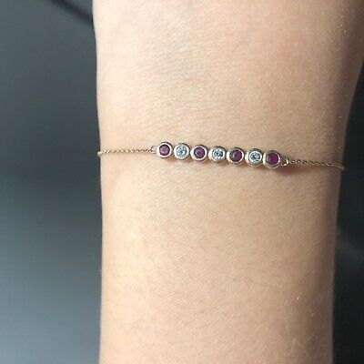 bracelet or rose 750 rubis et diamants