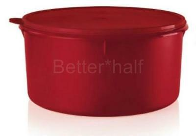Tupperware Giant Round .42 Cups Canister Cookies Pies Cakes Holiday Red Seal New