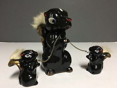 "Vintage Set of 3 Japanese Redware Skunk Figurines~Mom & 2 Babies~5 1/4"" & 2 1/4"""