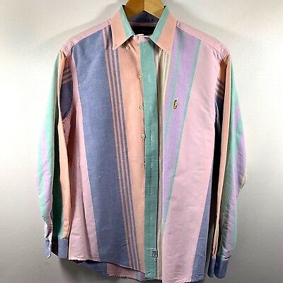 ebbba9c05 Vintage 90 s Polo Ralph Lauren Oxford Pastel Multi-Color Stripe Shirt Medium