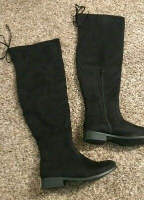4dda67a065e Journee Collection Size 9 Womens Black Faux Suede Mount Over the Knee Tall  Boots