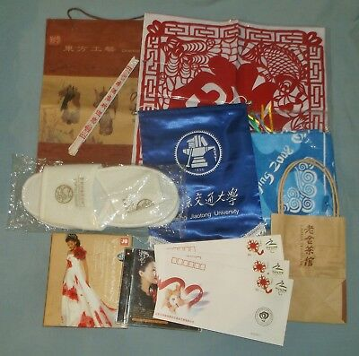 Souvenir Lot Beijing 2008 Olympics Banner CDs Bags Towel Slippers Doily Stamps