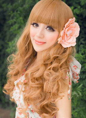 SALE!!! Long Women Blonde curly wavy hair full wig Curly Girl party wigs Capless