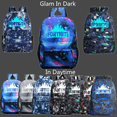 Kids Backpack School Bags Fortnight Battle Royale Night Luminous Galaxy Gift