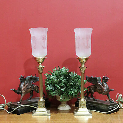 A Pair of Late Victorian Antique French Etched Glass Table Lamps - Working cond
