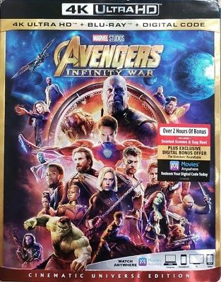 Marvel Avengers Infinity War 4K Uhd Blu-Ray Digital With Slipcover New Fast Ship