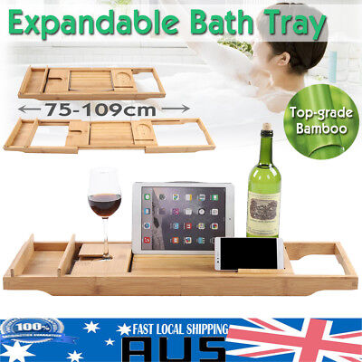 Expandable Bamboo Bath Caddy Wine Glass Holder Tray Over Bathtub Rack Supporter