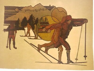 Vintage Iron On T-Shirt Transfer: CROSS COUNTRY SKIING SKIERS Retro 70s 80s