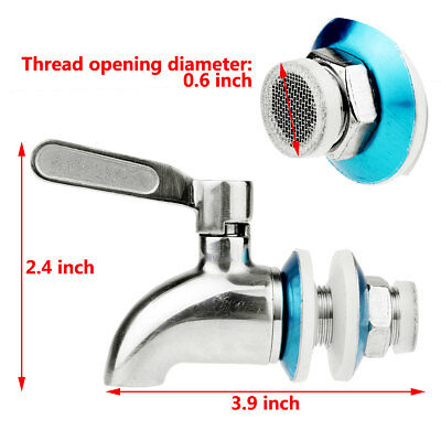 Stainless Spigot Tap Faucet with Filter for Wine Barrel Drink Beverage Dispenser