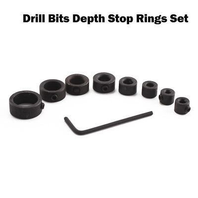 Creative 8x Drill Bits Depth Stop Ring Positioner Collars Locator Tool+Wrench