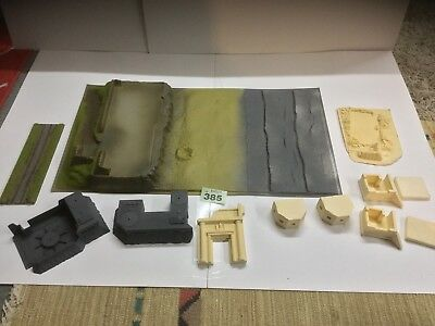 1:72 - 1:87,   1/56 Approx Bunker Pill Boxes. And Ruins  WWII, Diorama. Ref 385