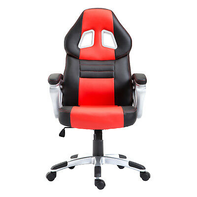 Samincom Ergonomic Large Size Office Desk Chair Gaming Chair Swivel PU Red