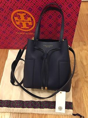 be305923d373 Authentic NWT Tory Burch Block-T Small Bucket Bag 50224 Royal Navy Retail   378
