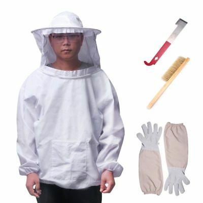 BeeKeepers Bee Suit Beekeeping Protective Hat+Gloves+Bee Hive Brush+J Hook Hive