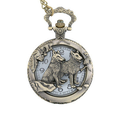 Quartz Pocket Watch Open-faced Cover Wild Wolf Transparent Pendant Gift AU