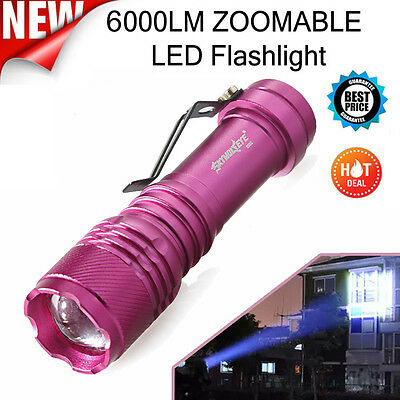 Super Bright 6000LM  Q5 AA/14500 3 Modes ZOOMABLE LED Flashlight Red Torch